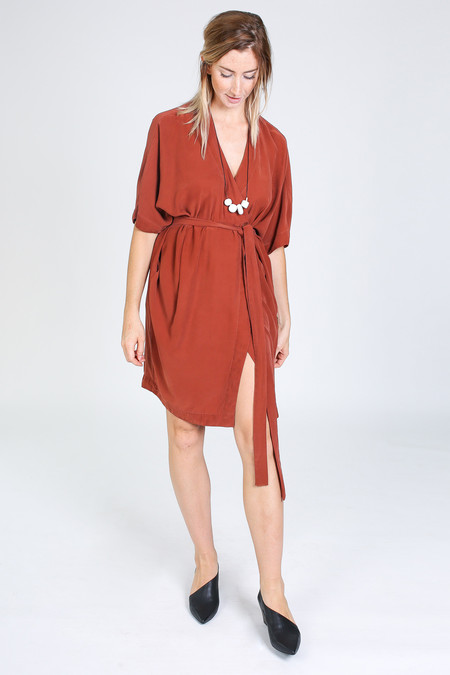Vincetta Knee Length Kimono Dress in sequoia