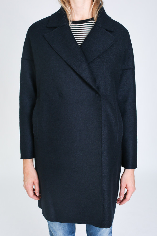 Harris Wharf London Oversized collar Coat in dark blue