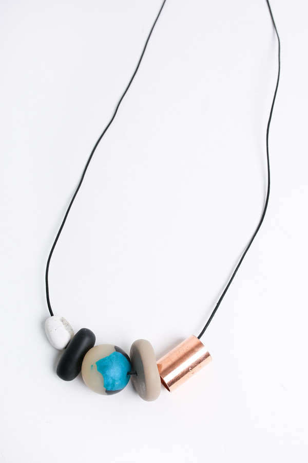 Pepper Train The Everyday Necklace in black/teal/white