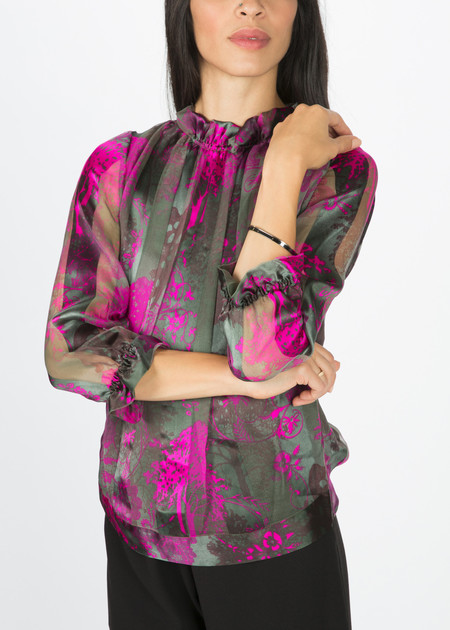 Amelia Toro Satin Stripe Silk Blouse