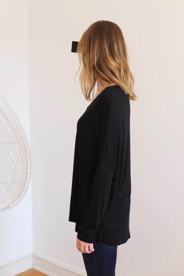 Margaux Lonnberg Ines Long Sleeve Tee in Black