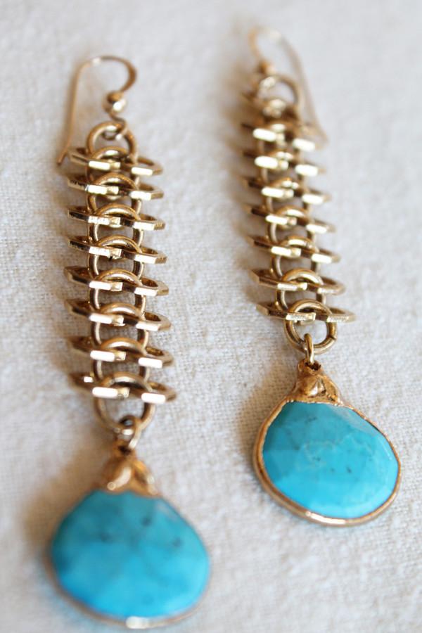 sheila b sleeping beauty turquoise earring