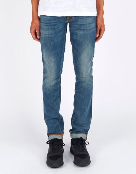 Men's Nudie Lean Dean Indigo Throb Washed Indigo
