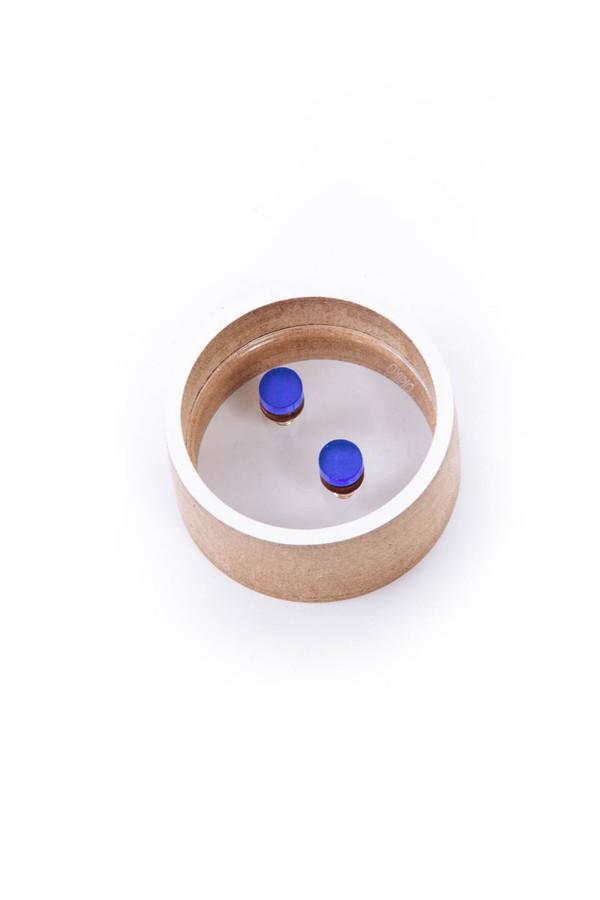 OkiikO Asorti Stud Earrings (Small Blue Circles)