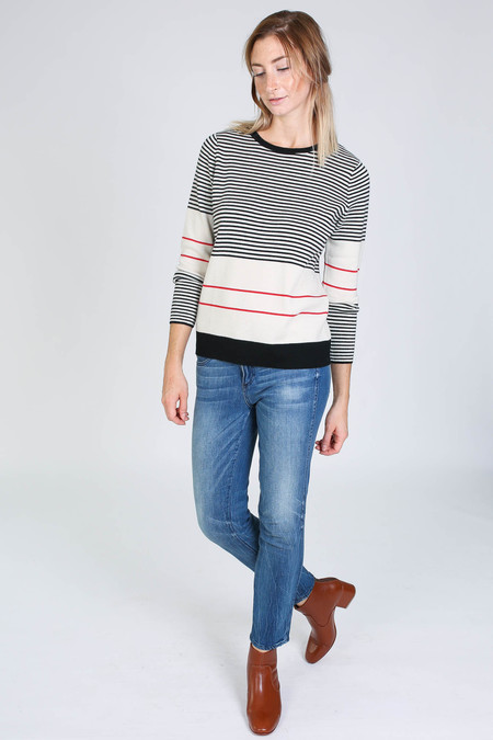 Chinti and Parker Fine Stripe Sweater in cream/black/red