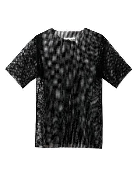 MM6 by Maison Margiela Womens Flocked Mesh T-Shirt Black