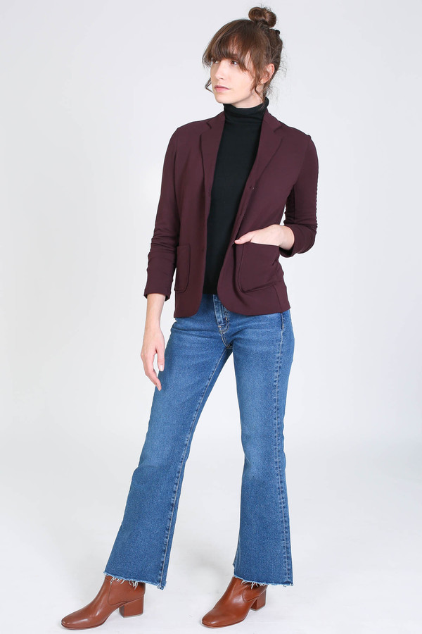 Majestic French terry blazer in aubergine