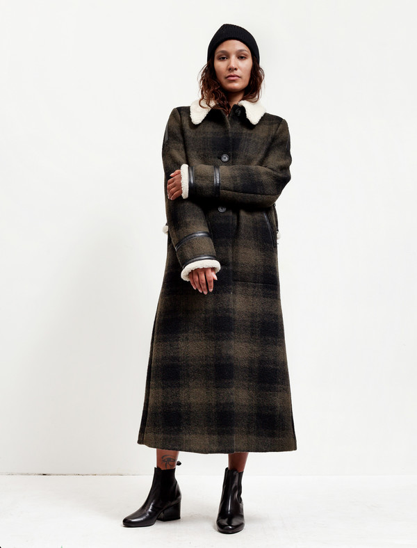 MM6 by Maison Margiela Womens Long Plaid Coat With Shearling