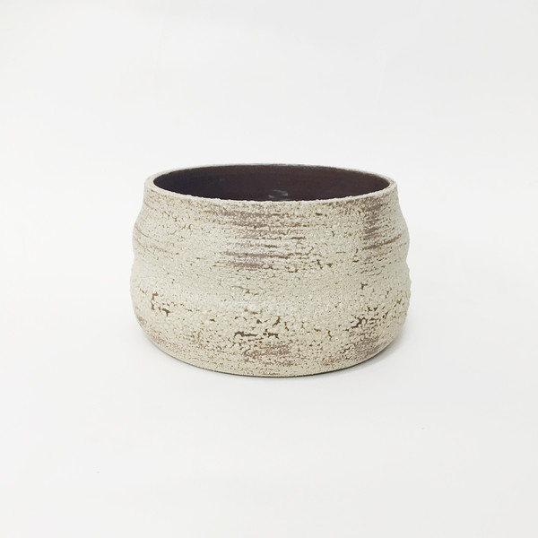 Ashley Hardy Brown Crackle Curve Planter