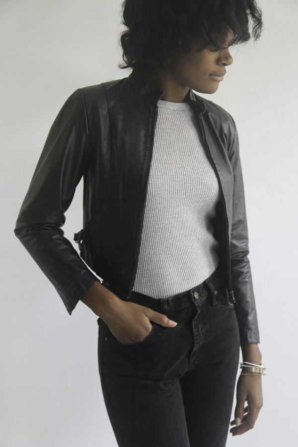 The Shudio Vintage Cropped Leather Jacket