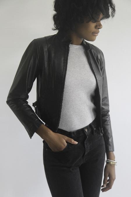 The Shudio Vintage Cropped Leather Jacket