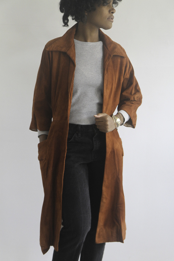 The Shudio Vintage Burnt Sienna Suede Trench Coat