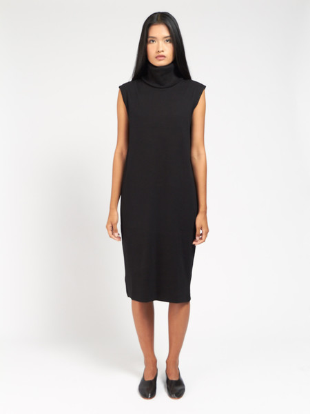Kowtow Rib Roll Neck Dress Black