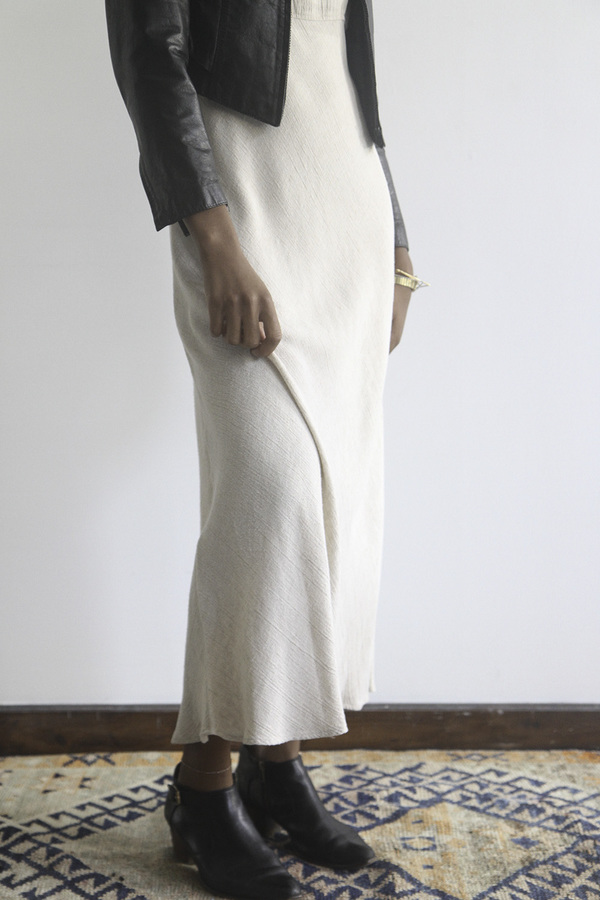 The Shudio Vintage Oatmeal Empire Waist Long Dress