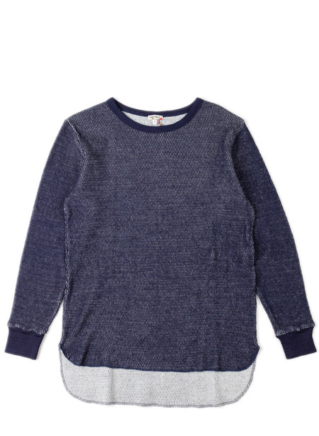 Blue Blue Japan Knitted Indigo Cotton Thermal Long Tail Crew LS Tee