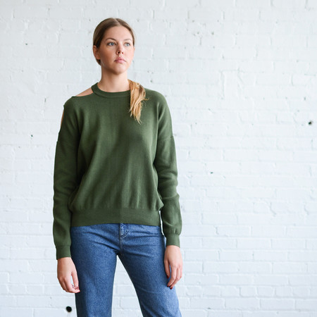 Nomia Cutout Shoulder Crew Neck