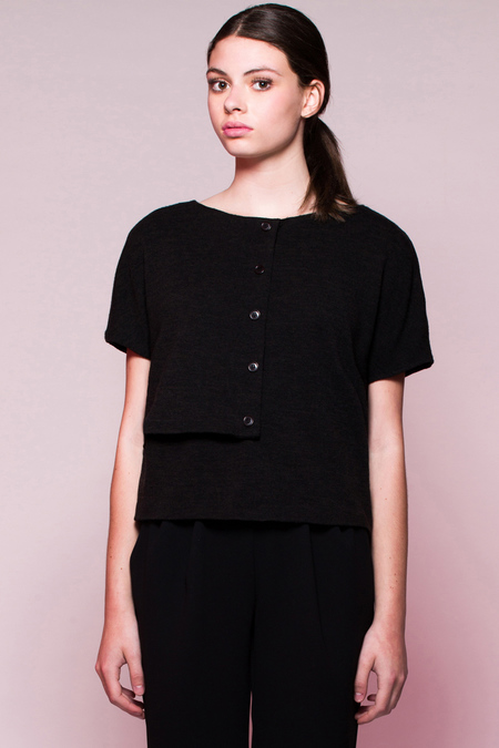 Valerie Dumaine 'Milton' top - black knit