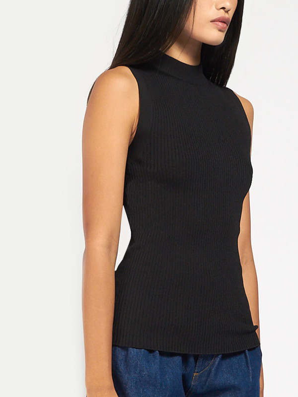 Pari Desai Leila Mock Neck Black
