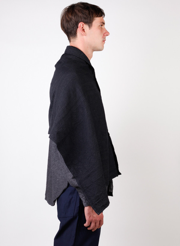 Engineered Garments Button Shawl Charcoal Wool Geo Jacquard