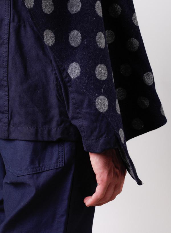 Engineered Garments Button Shawl Navy/Grey Polka Dot Jacquard