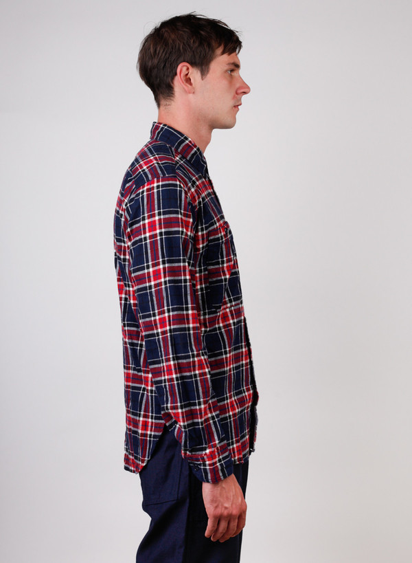 Men's Engineered Garments Work Shirt Navy/Red Big Plaid Flannel