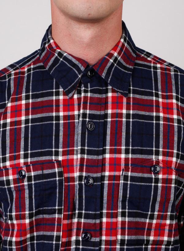 Men's Engineered Garments Work Shirt Navy/Red Big Plaid Flannel