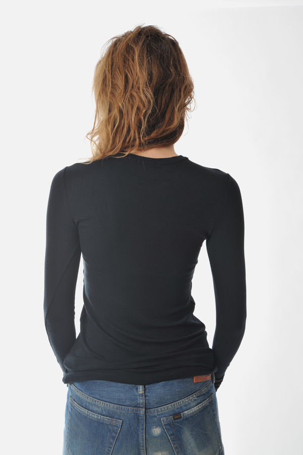 Long Sleeve Black Rib Crew Neck Tee by ATM