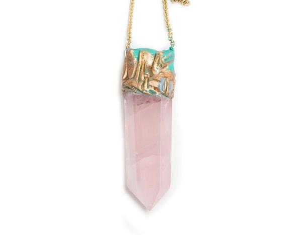 Adina Mills Rose Quartz Obelisk Necklace