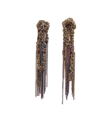 Arielle De Pinto Hairy Drip Earrings in Burnt Gold + Spectrum