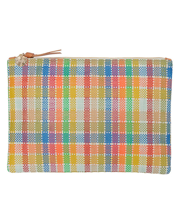 Clare V. Flat Clutch in a Multi-Colored Madras