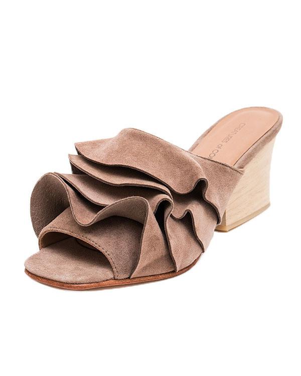 Creatures of Comfort Keira Ruffle Shoe in Light Brown Suede