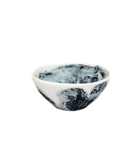 Dinosaur Designs Small Ball Bowl in Black + Snow Swirl