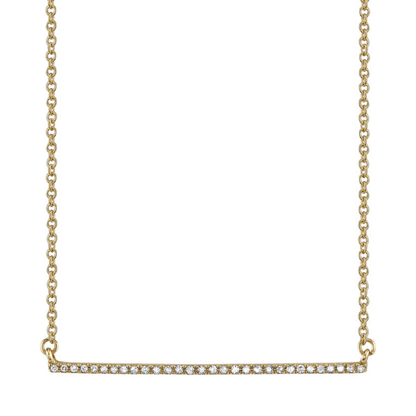 Gabriela Artigas Pave Bar Necklace in Yellow Gold