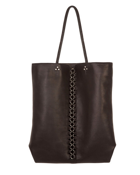 Jerome Dreyfuss Dario Tote in Black Lambskin with Silver Hardware