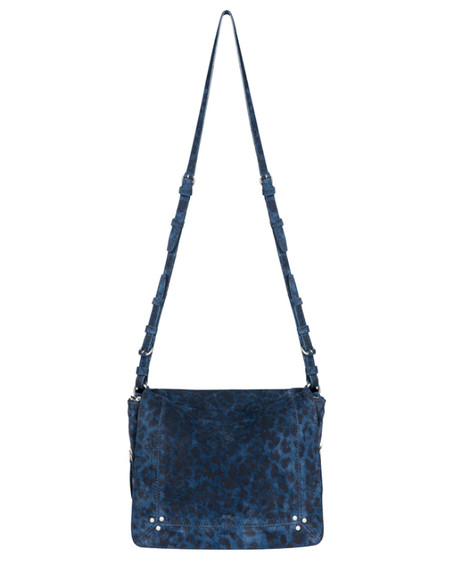 Jerome Dreyfuss Igor Crossbody Bag in Blue Leopard Suede