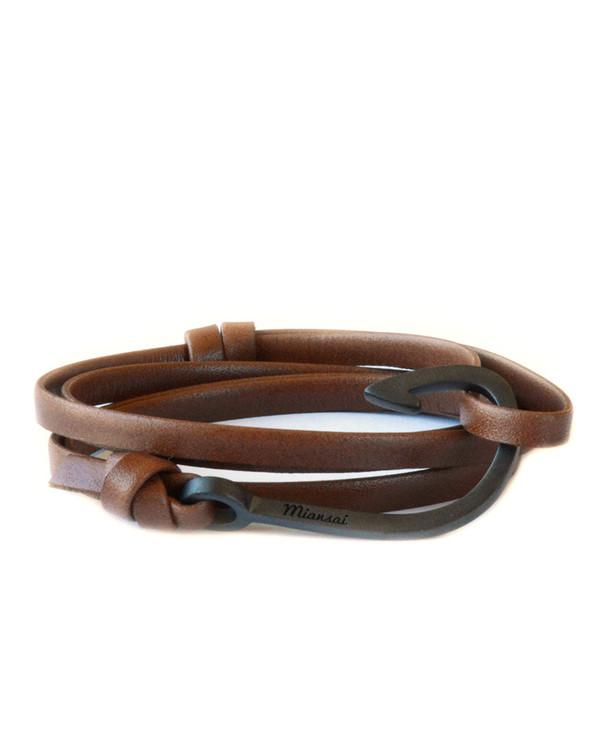 Miansai Black Fish Hook And Brown Leather Wrap Bracelet