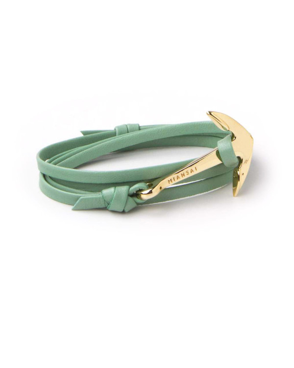 Miansai Gold Anchor And Seafoam Leather Wrap Bracelet