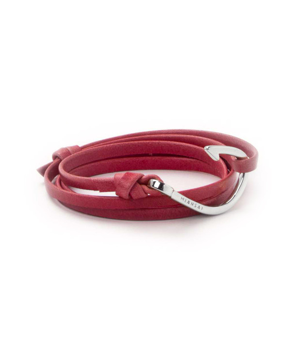 Miansai Silver Fish Hook And Flamingo Pink Leather Wrap Bracelet