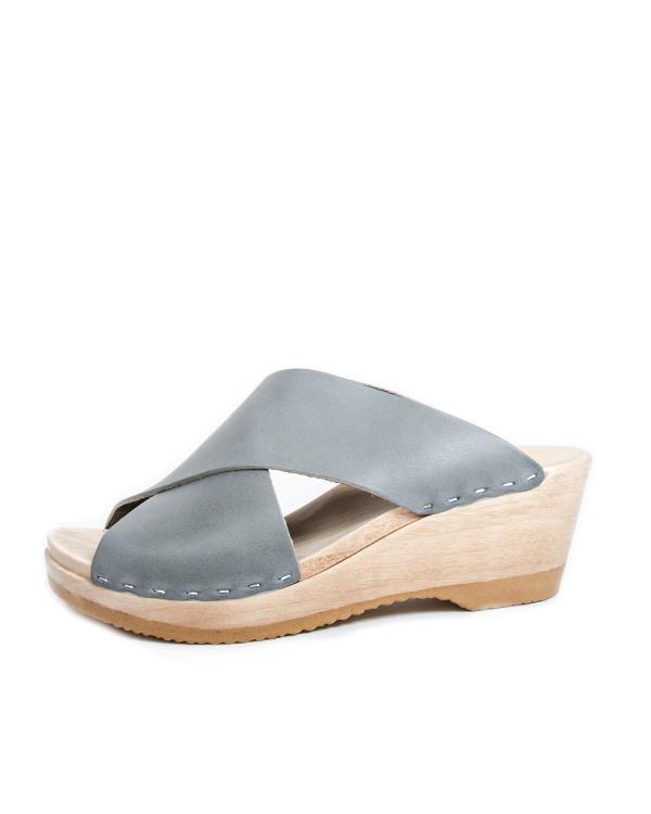 No. 6 Frida Mid Wedge Sandals in Steel