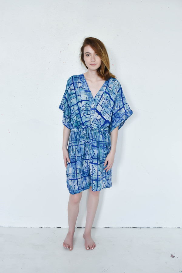 Osei-Duro Toss Kimono Dress in Waterbolt Print