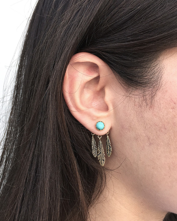Pamela Love Frida Ear Jacket in Brass & Turquoise