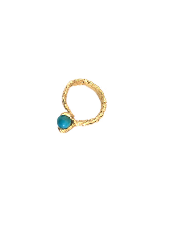 Unearthen Mini Sphere Ring in Yellow Gold with Turquoise