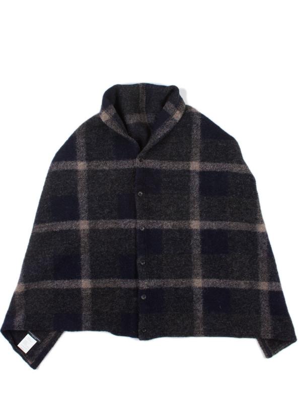 Button Shawl Dk. Navy/Grey Wool Knit Plaid