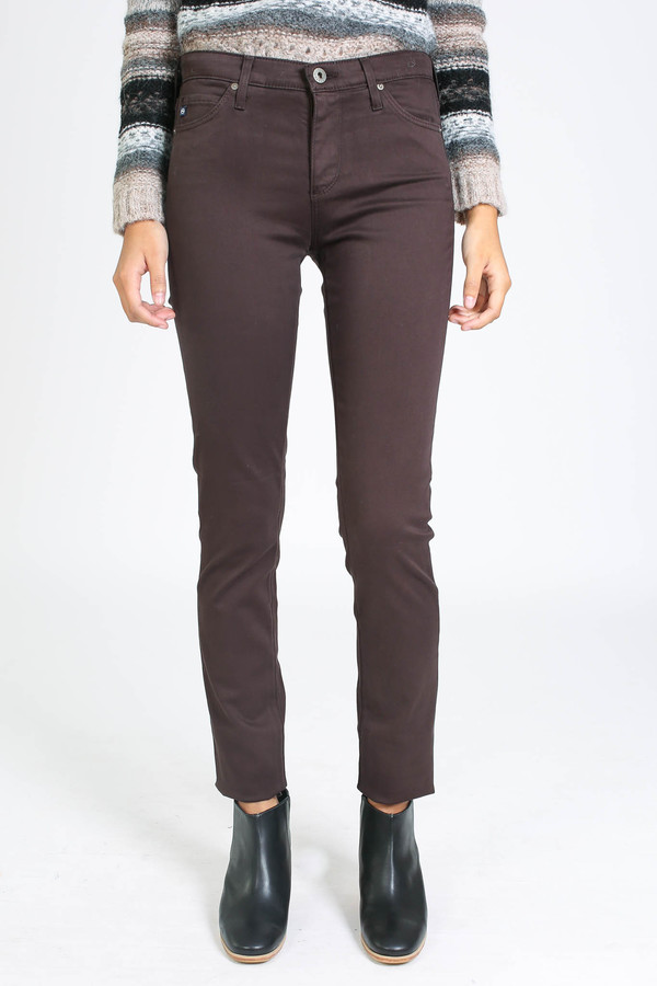 AG Jeans Prima Sateen in Bordeaux Brown