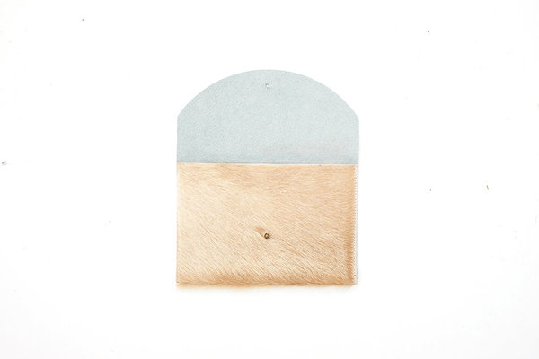 Primecut TAN COWHIDE ENVELOPE CLUTCH