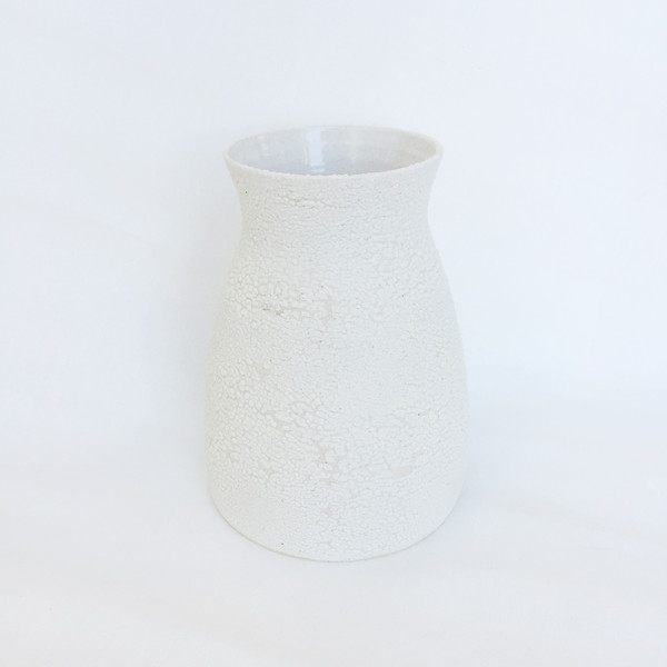 Ashley Hardy Large White Crackle Vase