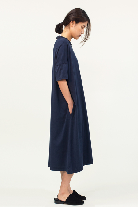 Universal Tissu Oversized Cotton Dress- Navy