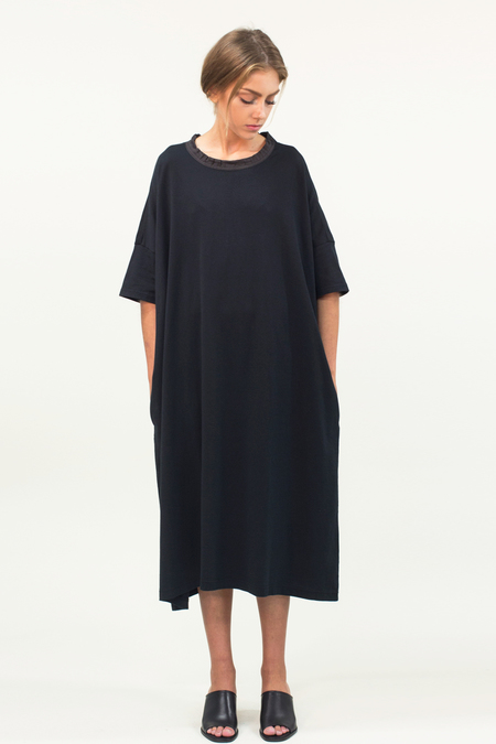 Universal Tissu Oversized Cotton Dress- Black