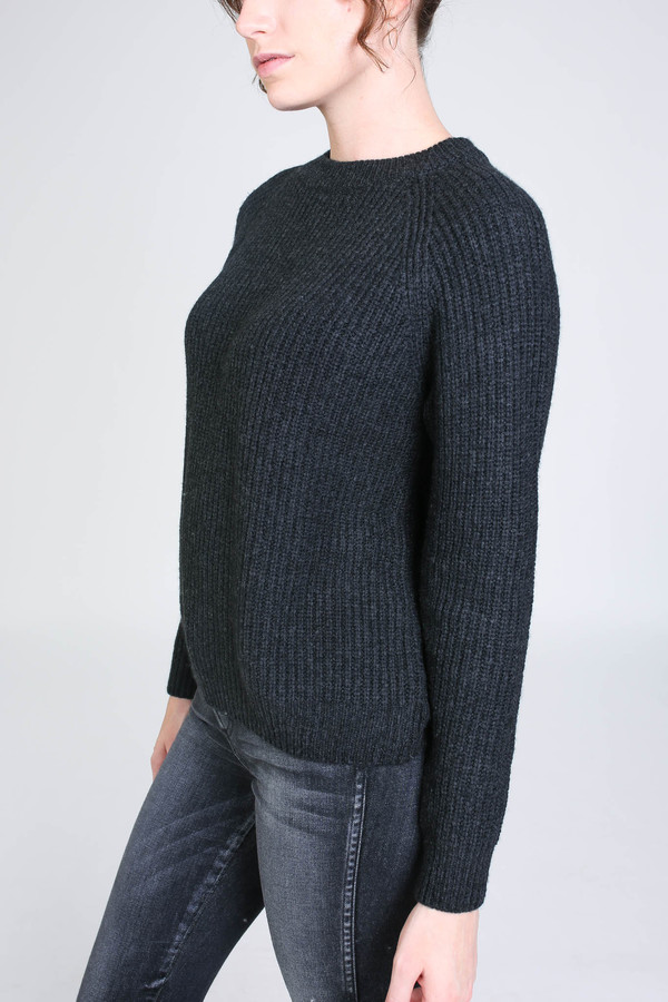 Evam Eva Wool cashmere raglan pullover in charcoal