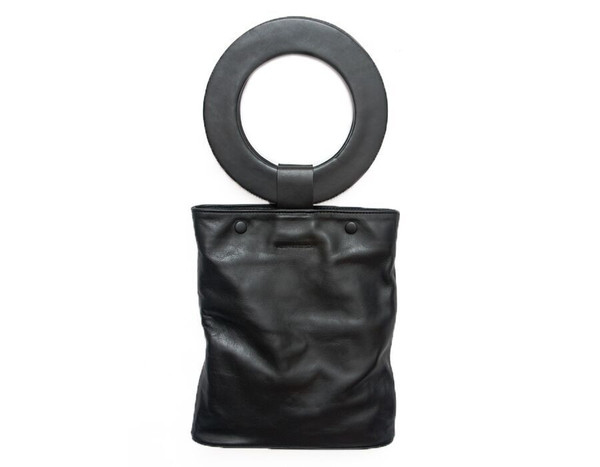 Modern Weaving Leather Handle Snap Tote in Black